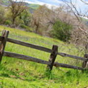 Green Hills And Rustic Fence Art Print