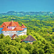 Green Hills Of Zagorje Region And Veliki Tabor Castle View Art Print