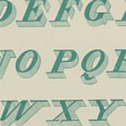 Green Italic Font Art Print