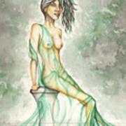 Green Lady  Art Print by Karen Musick