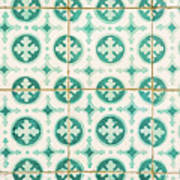 Green Lucky Charm Lisbon Tiles Art Print