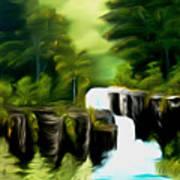Green Mist Fantasy Falls Dreamy Mirage Art Print