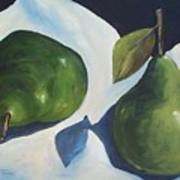 Green Pears On Linen - 2007 Art Print