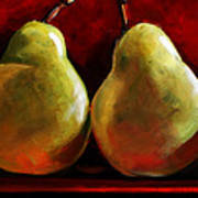 Green Pears On Red Art Print by Toni Grote