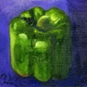 Green Pepper On Linen Art Print