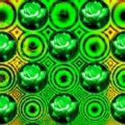 Green Polka Dot Roses Fractal Art Print
