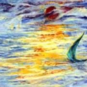 Green Sail At Sunset Art Print