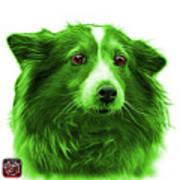Green Shetland Sheepdog Dog Art 9973 - Wb Art Print
