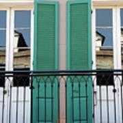 Green Shutters Reflections Art Print