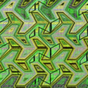 Green Steps Abstract Art Print
