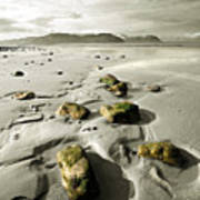 Green Stones On A North Wales Beach Art Print