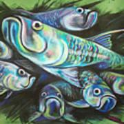 Green Tarpon Collage Art Print