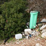 Green Trash Bag And Rubbish In Croatia Art Print