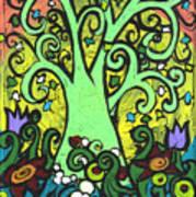 Green Tree With Purple Tulips Art Print