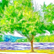 Green Trees By The Water 3 Art Print