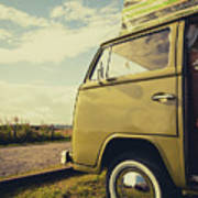 Green Vw T2 Camper Van 02 Art Print