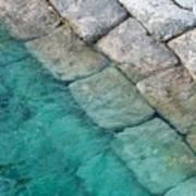Green Water Blocks Art Print