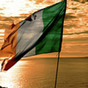 Flag Of Ireland At The Cliffs Of Moher Art Print
