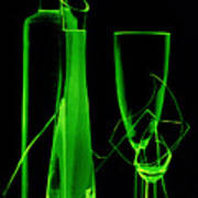 Green Wine Glasses And A Bottle Art Print