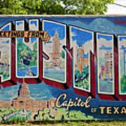 Greetings From Austin Capital Of Texas Postcard Mural Art Print