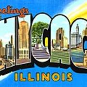 Greetings From Chicago Illinois Art Print