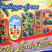 Greetings From Florida, The Land Of Sunshine Art Print