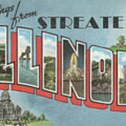 Greetings From Streater Illinois Art Print