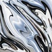 Grey And Black Metal Marbling Effect Abstract Art Print