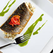 Grey Mullet With Watercress Sauce Presented On A Square White Plate With Cutlery And Napkin Print by Andy Smy