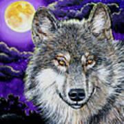 Grey Wolf And Full Moon Art Print