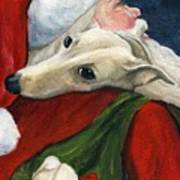 Greyhound And Santa Art Print