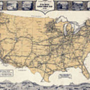 Greyhound Bus Route Map C. 1932 Greeting Card for Sale by Daniel ...