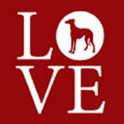 Greyhound Love Red Art Print