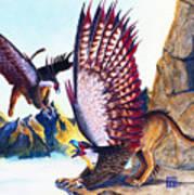 Griffins On Cliff Art Print