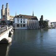 Grossmunster, Wasserkirche And Munsterbrucke - Zurich Art Print
