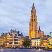 Grote Markt Square In Antwerp Art Print
