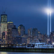 Ground Zero Tribute Lights And The Freedom Tower Art Print