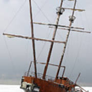 Grounded Ship In Frozen Water Art Print