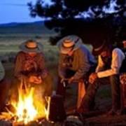 Group Of Cowboys Around A Campfire Art Print