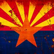 Grunge And Splatter Arizona Flag Art Print