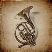 Grunge French Horn Art Print