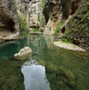 Guadalevin River At El Tajo Gorge From The Bottom Of The Secret  Art Print
