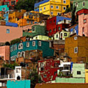 Guanajuato Hillside 4 Print by Mexicolors Art Photography