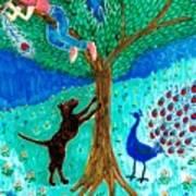 Guard Dog And Guard Peacock  Art Print