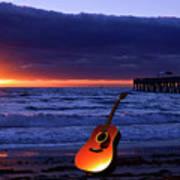 Guitar At Sunrise Art Print