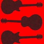 Guitar Silhouette Background Art Print
