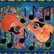Guitars - Bordered Art Print