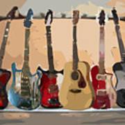 Guitars On A Rack Art Print