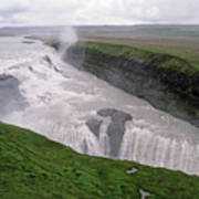 Gullfoss A Powerful Waterfall In The Canyon Of The Hvita River Art Print by Sami Sarkis
