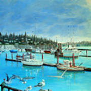 Gulls at Newport Harbor Art Print